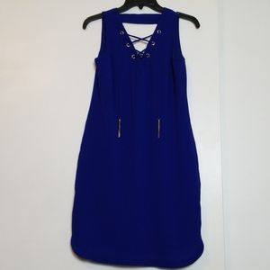 New INC Royal Blue Lace Front Sleeveless Dress